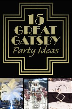 If you're looking for Great Gatsby party ideas, check out this list for some decor, food and drink suggestions. Would also be great for a Roaring 20's party. | 15 Great Gatsby Party Ideas