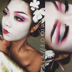 "sugarpillcosmetics: "" he gorgeous Pala_foxxia transformed herself into a modern day geisha with the help of #Sugarpill Dollipop, Mochi, Buttercupcake, Tako, and Love+ eyeshadows over #BenNye clown..."