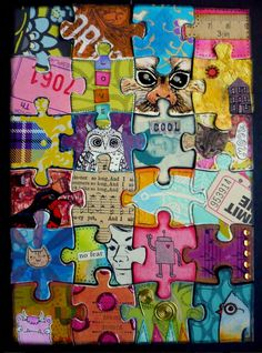 altered puzzle art - for a class project emphasizing all parts becoming part of the whole - everyone is valued - collaborative art - upcycled puzzle Art For Kids, Crafts For Kids, Arts And Crafts, Art Ideas For Teens, Teen Crafts, Class Art Projects, Collaborative Art Projects For Kids, Family Art Projects, Art Projects For Adults