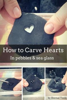 to Carve Hearts In Pebbles & Sea Glass How To Carve A Heart in Pebbles, stone, sea glass and beach pottery by Eternal Tools. Take a Dremel rotary tool, a diamond core drill and a diamond burr and start creating shapes into your sea glass and pebbles. Stone Crafts, Rock Crafts, Fun Crafts, Diy And Crafts, Arts And Crafts, Creative Crafts, Sea Glass Crafts, Sea Glass Art, Sea Glass Jewelry