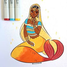 """7,975 curtidas, 29 comentários - Vicki (@vickisigh) no Instagram: """"day 27 of #mermay ! jewelry and sparkles~✨copic and ink #artistsofinstagram"""""""