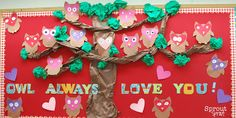 owl valentines day bulletin board (different valentine boards) - crafty morning