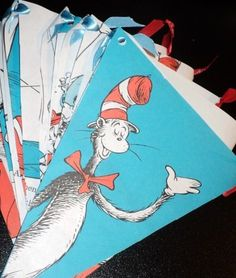Dr Seuss Party Paper Flag Pennant Banner 7ft CAT in the HAT hand tied with ribbon Suess. $15.00, via Etsy.