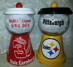 Candy jars, Dale Earnhart and Steelers Clay Pot Projects, Clay Pot Crafts, Clay Flower Pots, Clay Pots, Candy Jars, Candy Dishes, Mason Jar Crafts, Mason Jars, Diy Gumball Machine
