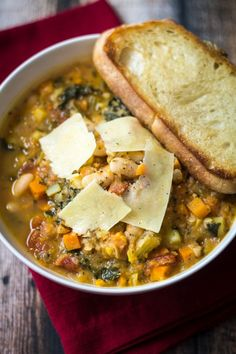 Easy Tuscan Bean Soup (30 Minute Mondays!). Veg option: use vegetable broth and top with non-dairy Vegan parmesan cheese alternatives.