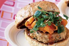 Looking for a tasty low-fat meal? Look no further than these tasty Thai-style chicken burgers smothered in sweet chilli sauce.