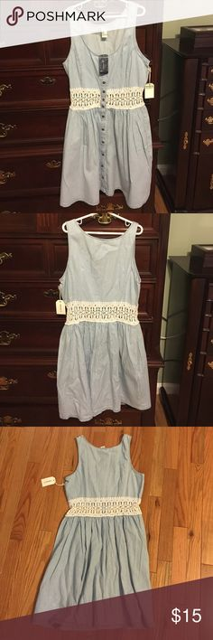Dress This is a denim washed dress with a white lace waistband. It ranges from knee length to above the knee depending on person. Forever 21 Dresses Mini