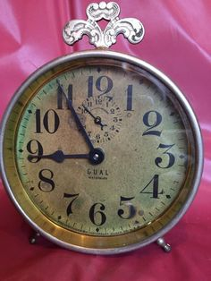 Vintage Wedgefield Gold Tone Hand Wind Alarm Clock West