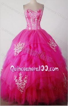 Sweet Hot Pink Ball Gown Sweetheart Beading and Appliques Quinceanera Dresses