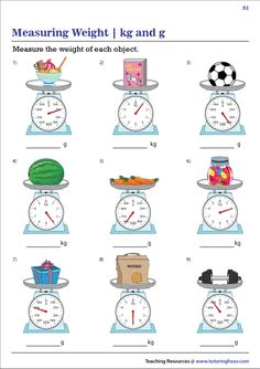 Grab our free printable reading weighing scales in metric units worksheets to practice recording weights in grams and kilograms. Math Practice Worksheets, 2nd Grade Worksheets, Printable Math Worksheets, Math Resources, Sequencing Worksheets, Measurement Activities, Math Measurement, Math Activities, Kindergarten Math