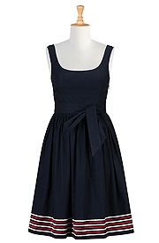 Embellished stripe hem knee-length poplin dress (this is from eShakti, search/filter fit and flare cotton dresses $50-80)