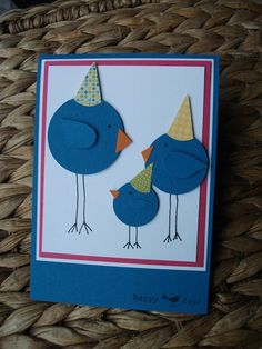 birthday card ... punch art round birds in birthday hats ... too cute!! ... Stampin' Up!