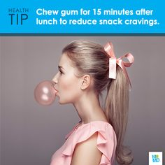 #TipTuesday  Chomp cravings away! Chewing gum after lunch can curb hunger, a recent study shows. Participants who chewed gum for 15 minutes each hour after lunch ate 10 percent less than those who didn't chew gum when offered a snack three hours later.   But be sure to pick your stick carefully. Ingesting too much sorbitol, a common ingredient in sugar-free gum, can cause diarrhea and abdominal pain.