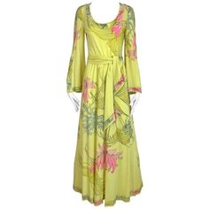 Preowned 1970s Leonard Yellow And Pink Floral Print Jersey Bell Sleeve... ($1,150) ❤ liked on Polyvore featuring dresses, day dresses, yellow, pink jersey, floral maxi dress, yellow floral dresses, pink vintage dress and yellow maxi dress
