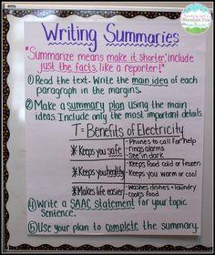 Great tips and ideas for teaching students how to write summaries!