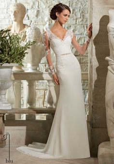 Mori Lee Blu Wedding Dresses - $1,050.00 Love this without the sleeves!