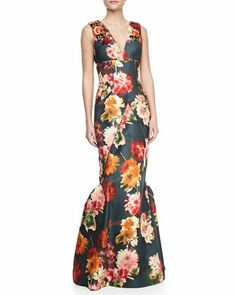 Sleeveless Beaded Floral-Print Silk Gown  by J. Mendel at Neiman Marcus.