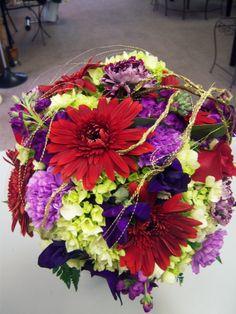 Red purple green wedding bouquet by R'cena