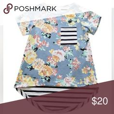 Toddler/Girl Mixed Pattern Tee Adorable tee with high-low hem, floral print on front, striped back, and striped front pocket. The fabric is 95% cotton and 5% spandex, so it is soft with a bit of stretch.   I cannot offer discounts on single boutique items but am happy to negotiate when bundled!  Shirts & Tops Tees - Short Sleeve