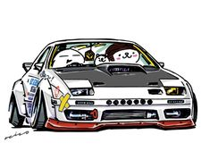 "car illustration""crazy car art""jdm japanese old school ""FC""original characters ""mame mame rock"" / © ozizo ""Crazy Car Art"" Line stichersLINE STOREhttp://line.me/S/sticker/1254713"