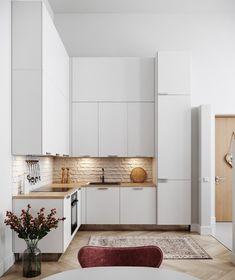30 Tremendous L-Shaped Kitchen Design Ideas - PinZones Small L Shaped Kitchens, L Shaped Kitchen Designs, Interior Modern, Kitchen Interior, Kitchen Vinyl, Kitchen Cabinets, Oak Cabinets, Rustic Kitchen Island, Cabinet Design