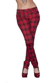 Women's Red Tartan Print Rockabilly Skinny Jeans Trousers Goth Punk Emo! www.bluemagik.co.uk