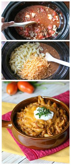 Easy Slow Cooker Taco Pasta Recipe ~ A combination of two family favorites—tacos and pasta—made easy in the slow cooker