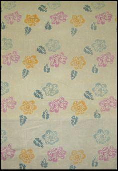 Indonesian Block Print Floral #Batik on Soft Green background - Textiil