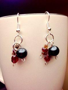 Berry Black Beaded Earrings by JamesBrownCreations on Etsy