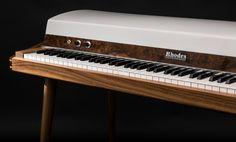 A museum-worthy Rhodes 88 Stage Piano restoration. Mid-century style. Walnut hardwood. Minimalist details.