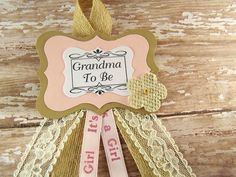 Pink Shabby Burlap and Lace Grandma To Be Corsage by BloomingParty