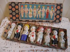 Bisque Doll Lot Original Box Japan Bisque Dolls Bisque Dog Vintage Collectible Penny Doll Set Figurine Supplies Display Old Store Stock