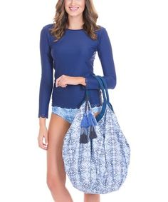 3e34fa6b5be Loving this Blue  amp  White Arabesque Hobo Tote on  zulily!  zulilyfinds  Blue