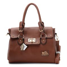 Coach Legacy Leather Turnlock Medium Tote Brown