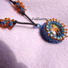 "OOAK Necklace 3D Glass Cabochon ""Sea Star"" beaded Miyuki Matsuno seedbeads fringe - Handmade beaded Jewelry and Beading by Ziddharta by Ziddharta on Etsy"