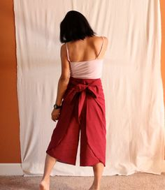 cotton flare wrap pants with obi waist by annyschooecoclothing
