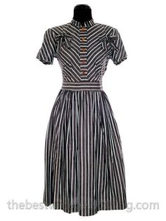Vintage 1940s Day Dress Cotton Gray Seafoam Green Stripes Bows Adorable Short Sleeves S- M
