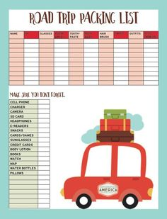 Printable Packing List for my next road trip - extra spots for adding anything not on the list! I HAVE to stay organized when I travel or I forget everything under the sun! LOVE this travel blog - inspires my never ending wanderlust!