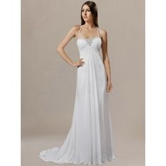 Halter Chiffon Beaded Wedding Gown with Corset Back DE198