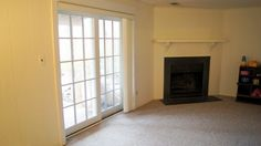Family room in lower level w/fireplace
