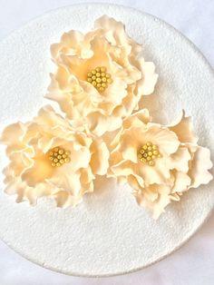 fondant flowers, 3 ivory large Peony Fondant flowers edible cake topper decorations vintage birthday handmade wedding bridal baby shower