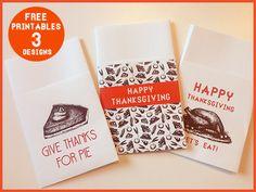 Free Thanksgiving Printable utensil holders