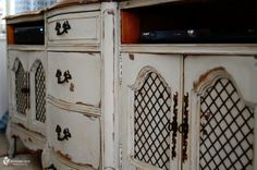 the black design on the cabinet doors! Old Furniture, Furniture Makeover, Furniture Ideas, Tv Stand Inspiration, Dresser Tv Stand, Cabinet Doors, Cool Stuff, Paint Ideas, Storage