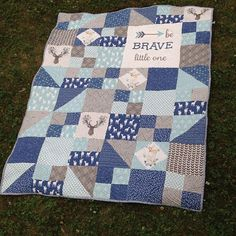Modern Personalized Chevron Quilt for Baby Boy by Shelsy on Etsy ... : boy quilt pattern - Adamdwight.com