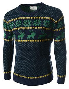 (FFT11-NAVY) Slim Fit Snowflake Pattern Round Neck Knitted Long Sleeve Tshirts