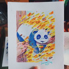 A panda for a friend. Watercolor & gouache on watercolor paper! Gouache, Watercolor Paper, Panda, Photo And Video, Illustration, Artwork, Painting, Instagram, Work Of Art