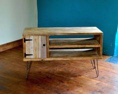 Madera reciclada muebles de madera aparador acero horquilla patas rústico Industrial TV medios soporte andamio tableros plataforma
