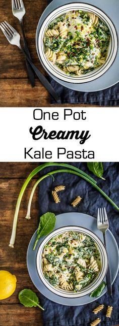 one pot creamy kale-pasta - 1 Big Bite Kale Recipes, Entree Recipes, Baby Food Recipes, Pasta Recipes, Dinner Recipes, Food Baby, Family Recipes, Vegetarian Entrees, Vegetarian Recipes Easy