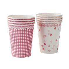 Pappbecher in pink mit Punkten und Karomuster