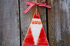 Wooden Santa Claus Christmas Ornament Tree by WoodStreets on Etsy